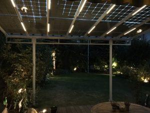 Überdachung mit PV Modulen bei Nacht